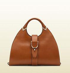 Gucci stirrup cuir leather top handle bag