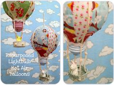 recycled light bulb hot air balloons