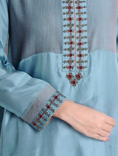Buy Steel Blue Pintuck & Dabka Embellished Habutai Silk Kurta Online at Jaypore.com Embroidery On Kurtis, Kurti Embroidery Design, Embroidery Dress, Embroidery Stitches, Embroidery Patterns, Khadi Kurta, Kurta Cotton, Churidar, Anarkali