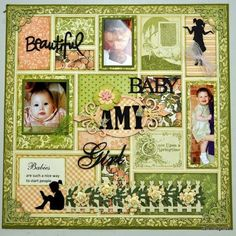 Beautiful Baby layout Izard Izard Tregenza Product Graphic 45 - Once Upon a Springtime Baby Girl Scrapbook, Love Scrapbook, Baby Scrapbook Pages, Scrapbook Layout Sketches, Scrapbook Paper Crafts, Scrapbooking Layouts, Scrapbook Cards, Graphic 45, Christmas Scrapbook