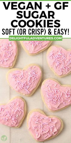 Easy, homemade cut-out vegan gluten-free sugar cookies you can make for Christmas, Valentine's Day, Easter, Halloween…they're perfect for ANY occasion! This recipe can be made soft or crispy, it's up to you. And yes, they're 100% egg-free, dairy-free, nut-free, gf, and delicious! Decorate with buttercream frosting or a simple vegan icing that hardens, recipes for both are included. Dairy Free Sugar Cookie Recipe, Nut Free Cookies, Easy Vegan Cookies, Vegan Gluten Free Cookies, Gluten Free Sugar Cookies, Dairy Free Eggs, Vegan Treats, Vegan Food, Dairy Free Icing