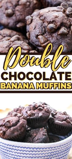 Rich and decadent double chocolate banana muffins are easy to make and perfect for breakfast or snack time, and even sweet enough for dessert! Chocolate Banana Muffins, Banana Chocolate Chip Muffins, Chocolate Flavors, Oatmeal Breakfast Cookies, Breakfast Muffins, Brunch Recipes, Dessert Recipes, Dinner Recipes, Strawberry Muffin Recipes