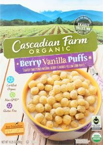 Cascadian Farms Organic Puffs™ Cereal Berry Vanilla (White) -- oz pack of 2 Corn Puffs, Puffs Cereal, Gluten Free Cereal, Sports Nutrition, Berries, Vanilla, Tasty, Breakfast, General Store