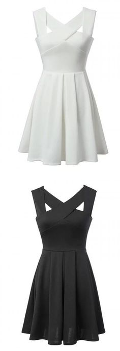 White & Black Cut Out Cross Sleeveless Skater Dress Imagine each part of strap a different color. Some dresses basics, neons, dark, brights