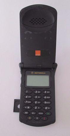 Motorola StarTAC 130 Black Orange Locked Mobile Phone Rare Vintage Collectibles+ #Motorola #Flip
