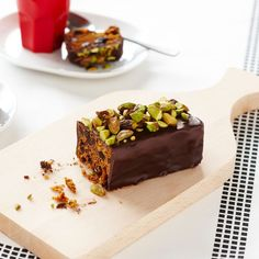 Chocolate and Pistachio Christmas Cake Log ~ traditional holiday spiced fruitcake with brandy, coated in dark choc & topped with nuts | recipe from Western Star Butter (Australia)