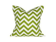 """18"""" x 18"""" Designer Pillow Cover / Decorative Throw Pillow / Accent Cushion Cover / Pillow Case (White and Chartreuse Chevron)"""