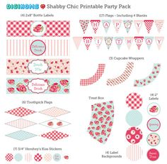 Shabby Chic Pink & Blue Flowers Printable Party Pack #printables