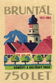 1963 Matchbox Label for Bruntal (Czech Republic) Matchbox Art, Stamp Carving, Colour Field, Old Advertisements, Old Comics, Vintage Graphic Design, Gouache Painting, Vintage Labels, Graphic Illustration