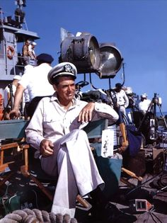 Cary Grant on the set of Operation Petticoat (1959).