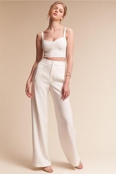 BHLDN's Black Halo Kalem Two-Piece Jumpsuit in Ivory wedding dresses two piece Kalem Two-Piece Jumpsuit Bridesmaid Separates, Bridal Separates, Creperia Ideas, Wedding Jumpsuit, Wedding Pants, Wedding Dresses, Wedding Shit, Fall Wedding, Dream Wedding