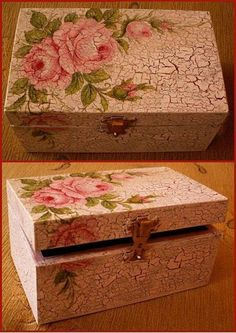 LAMINAS... Y TRABAJOS CON FLORES (pág. 46) | Aprender manualidades es facilisimo.com Cigar Box Art, Cigar Box Crafts, Decoupage Glass, Decoupage Vintage, Hobbies And Crafts, Diy And Crafts, Jewelry Box Makeover, Painted Wooden Boxes, Wooden Jewelry Boxes