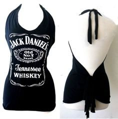 Jack Daniels Sexy Halter Neck Tops black Shirt Womens Sleeveless Jack Daniels Customized Halter Neck Tops Handmade by Julia Julia modified Jack Daniel's signature logo t-shirts into Halterneck tank… mens t shirts at primark Zerschnittene Shirts, Diy Cut Shirts, T Shirt Diy, Tees, Cut Shirt Designs, Cut Up T Shirt, Sleeveless Outfit, Sleeveless Tops, Diy Vetement