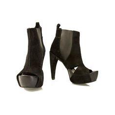 Pedro Garcia Balck suede platform chelsea style peep toe booties s 38 boots