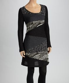 Take a look at this Black & Gray Patchwork Tunic by Christine Phillipë on #zulily today!