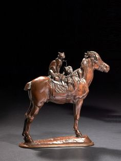 Emmanuel Frémiet Paris, 1824 - 1910  Horse Saltimbanque (second version)  Bronze shaded brown patina  older casting, circa 1880  Signed 'FREMIET' More workshop, numbered '36' 'FAIRGROUND HORSE', BRONZE BROWN PATINA, SIGNED, BY E . FREMIET 22 x 21 x 6.50 cm (8.66 x 8.27 x 2.56 in.)