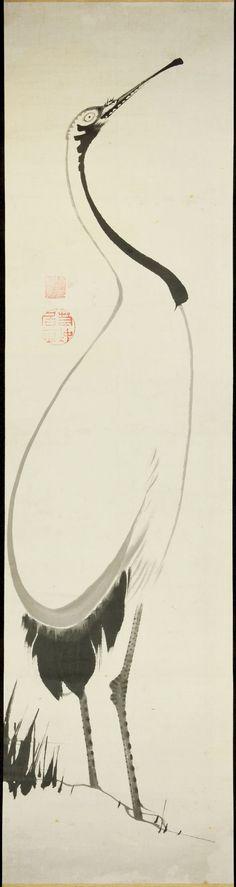 Japanese hanging scroll. Crane. Ink on paper. Ito Jakuchu (伊藤若冲). Edo Period. 1750s. British Museum.