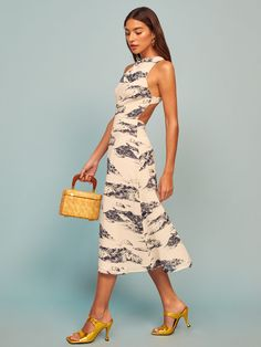 This is a midi length dress with a halter neckline, open back and sides, and cross back straps. The Harleen is slim fitting in the bodice with a relaxed fitting skirt. Georgette Fabric, Denim Trends, Open Back Dresses, Linen Dresses, Casual Dresses, Reformation, Spring Dresses, Dress Backs, Just In Case