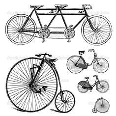 Vektor-Clipart-retro Fahrrad-set - Stockilllustration: 33386977
