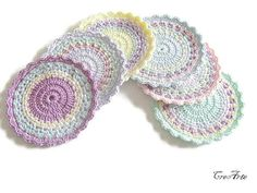Crochet colorful coasters, Handmade coasters, Set of 6 coasters, Pastel coasters, Small doilies, Sottobicchieri colorati (Cod. 26)