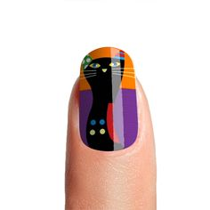 Halloween Black Cat Purple Orange Color Fake Nails | Glossy Acrylic Press on Nails High Quality | Nail Glue-File-Cuticle Pusher Included by nailpassionista on Etsy