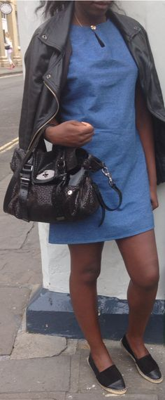 Demin smock dress made by me. Teaming with leather jacket, Topshop Espadrilles & leather & suede black leopard print Mulberry Alexa.