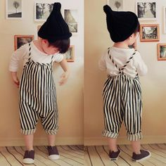 Baby Girls Camisole Black and White Vertical Striped Harem Pants Romper Onesie Girls Harem Pants, Romper Long Pants, Kids Pants, Baby Girl Romper, Baby Girl Shoes, Trouser Outfits, Striped One Piece, Jumpsuits For Girls, Kids Girls