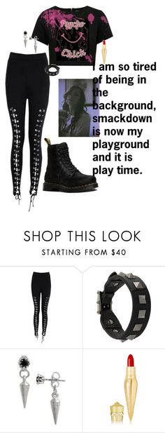 """""""Elle - #1 Contendership Match"""" by lsd-and-halloweencandy ❤ liked on Polyvore featuring Boohoo, Valentino, Biko, Christian Louboutin and Dr. Martens"""