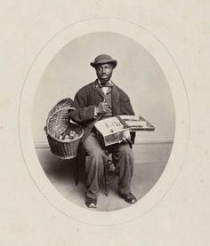 "ca. 1865, [Portrait of Theodore Ferris, ""Candy Sam"", blind seller of apples and confectionary, Yale, New Haven, CT], George Kendall Warren. via the Museum of Fine Arts in Boston, Photographs Collection"