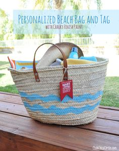 Chalky finished Cheveron Striped Beach Bag Makeover and Personalized Tag by Club Chica Circle