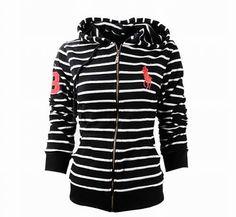 Cheap Polo Ralph Lauren Womens Big Pony Stripe Hoodie Black