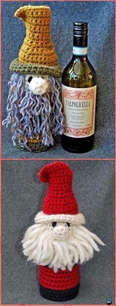 Crochet Bottle Buddy Present Baggage Free Sample - Crochet Wine Bottle Cozy Bag & Sack Free Patterns Wine Christmas Gifts, Christmas Wine Bottles, Christmas Crafts, Crochet Christmas Trees, Holiday Crochet, Crochet Santa, Crochet Gifts, Crochet Bags, Free Form Crochet