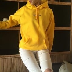 Oh Yes Letter Harajuku Casual Coat New 2018 Winter Fleece Yellow Pullover Thick Loose Women Hoodies Sweatshirt Harajuku Girls, Swagg, Hoodies, Sweatshirts, Look Fashion, Womens Fashion, Fashion Trends, Long Sleeve Sweater, Casual Wear