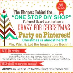 Crazy for Christmas Party on Pinterest and Giveaway!  WOO HOO!!!!!