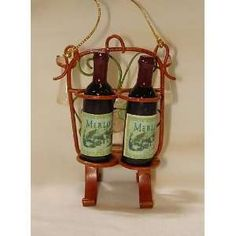 Tuscan Merlot Wine Bottle Duo Christmas Ornament #W20166