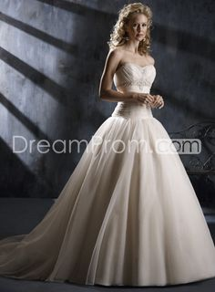 Pink Strapless Wedding Dresses A Line Ball Gown Sweeping Train