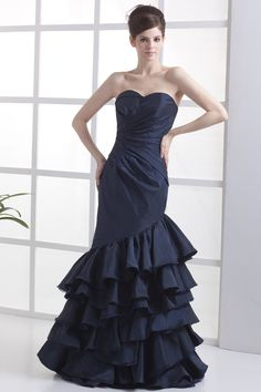 Dark Navy Floor-Length Sweetheart Taffeta Mermaid Prom Dress With Pleated