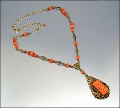 Victorian Coral Bead Silver Gold Necklace Antique   #Vintage #Jewelry @boylerpf