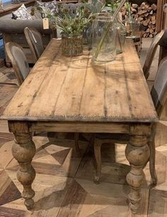 Each is one of a kind made from reclaimed wood. This is a reinterpreted classic. The legs of this old traditions dining table resemble graceful, salvaged bedposts. Rustic yet refined, with a neutral, aged finish. Farmhouse Dining Room Table, Dinning Room Tables, Farmhouse Furniture, Rustic Table, Farm Tables, Modern Farmhouse Table, Antique Dining Tables, Reclaimed Wood Dining Table, Diy Dining Table