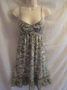 Areopostale Green Floral Short Summer Sun Dress Cross Straps Ruffled Hem S #Aeropostale #Sundress #SummerBeach