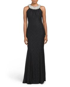 Long+Glitter+Lace+High+Neck+Gown