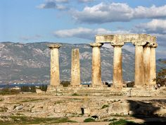 """~ Temple of Apollo ~ Ancient Corinth ~ """" Standing Magnificently! """" photo by Alan Grant Seattle Skyline, Temple, Greece, Journey, Architecture, Apollo, Photography, Greece Country, Arquitetura"""