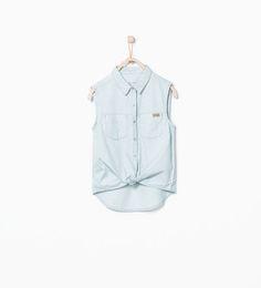 Geknoopte mouwloze denim blouse met sterrenprint-Hemden-Meisjes (2-14 jaar)-KINDEREN | ZARA Nederland