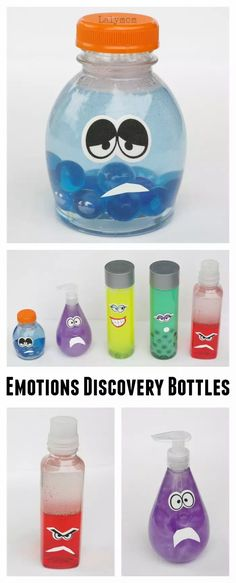 LalyMom has this how to make emotions discovery bottles activity. This activity is inspired by Disney Pixar's Inside Out. Help your kids understand their emotions with these emotions discovery bottles. #diycrafts #kidsactivity Sensory Activities, Craft Activities For Kids, Toddler Activities, Sensory Rooms, Sensory Diet, Activity Ideas, Craft Ideas, Kraken, Teaching Emotions