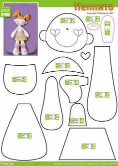 Ideas baby girl diy crafts cute ideas free pattern for 2019 Doll Crafts, Diy Doll, Sewing Crafts, Sewing Projects, Doll Clothes Patterns, Doll Patterns, Pattern Ideas, Free Pattern, Fabric Dolls