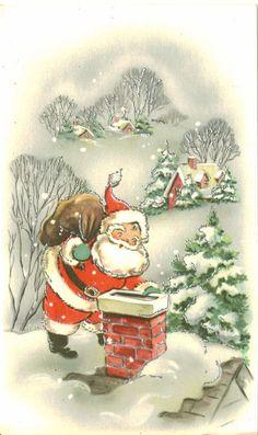 Vintage Christmas Card, UNUSED, Santa Claus on Roof, Silver Embellishment Vintage Christmas Images, Retro Christmas, Vintage Holiday, Christmas Pictures, Christmas Art, Christmas Greetings, Father Christmas, Birthday Greetings, Birthday Cards