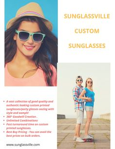 At Sunglassville, you can choose from various 'it' styles and shades at cost effective prices. #sunglassville #customsunglasses #fashion #bulkorder #freeshipping #bestprice