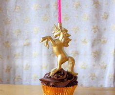 Gold Leaping Unicorn Birthday Candle Holder - Wishopoly