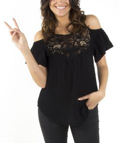 Take a look at the Black Lace Cutout Top on #zulily today!