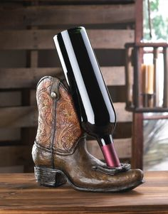 YEE-HAW! Western Cowboy Boot Wine Bottle Holder with Lucky Horseshoe on Toe